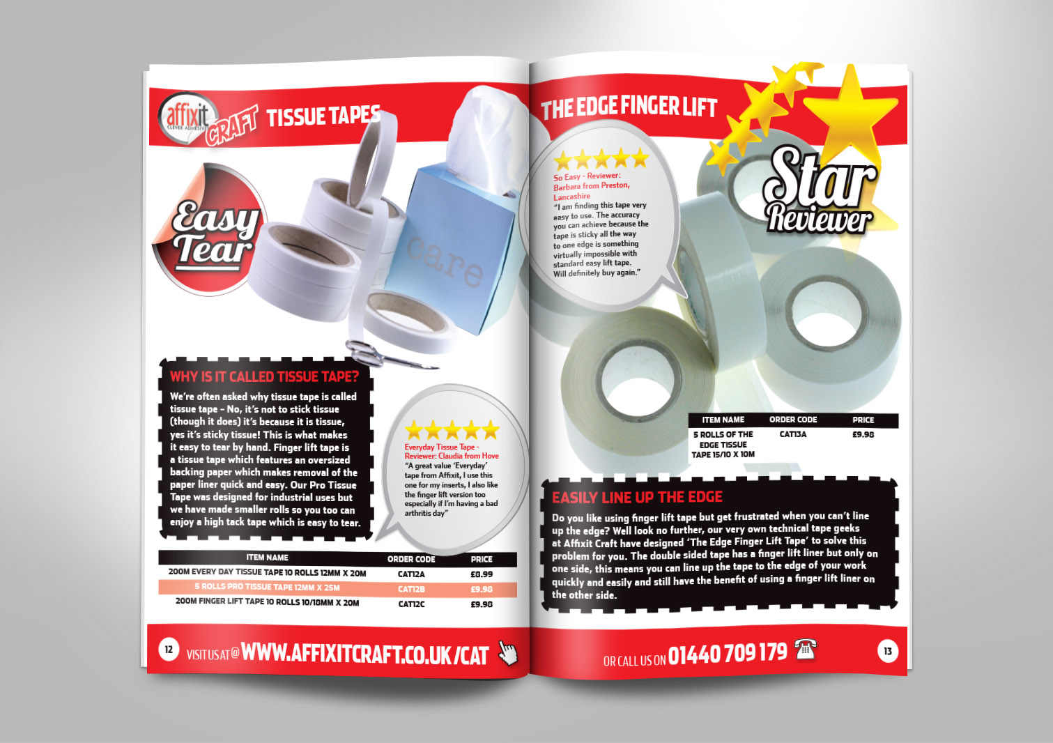 Affixit Craft Order Catalogue Inside Pages 12 and 13
