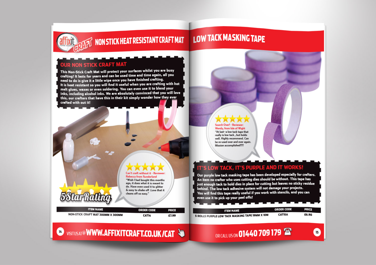 Affixit Craft Order Catalogue Inside Pages 14 and 15