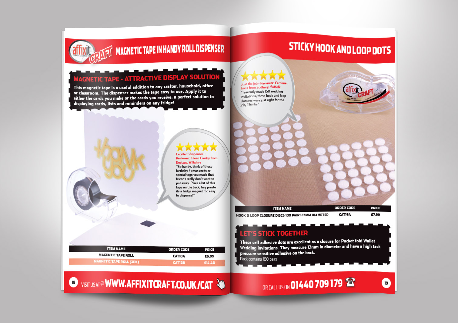 Affixit Craft Order Catalogue Inside Pages 18 and 19