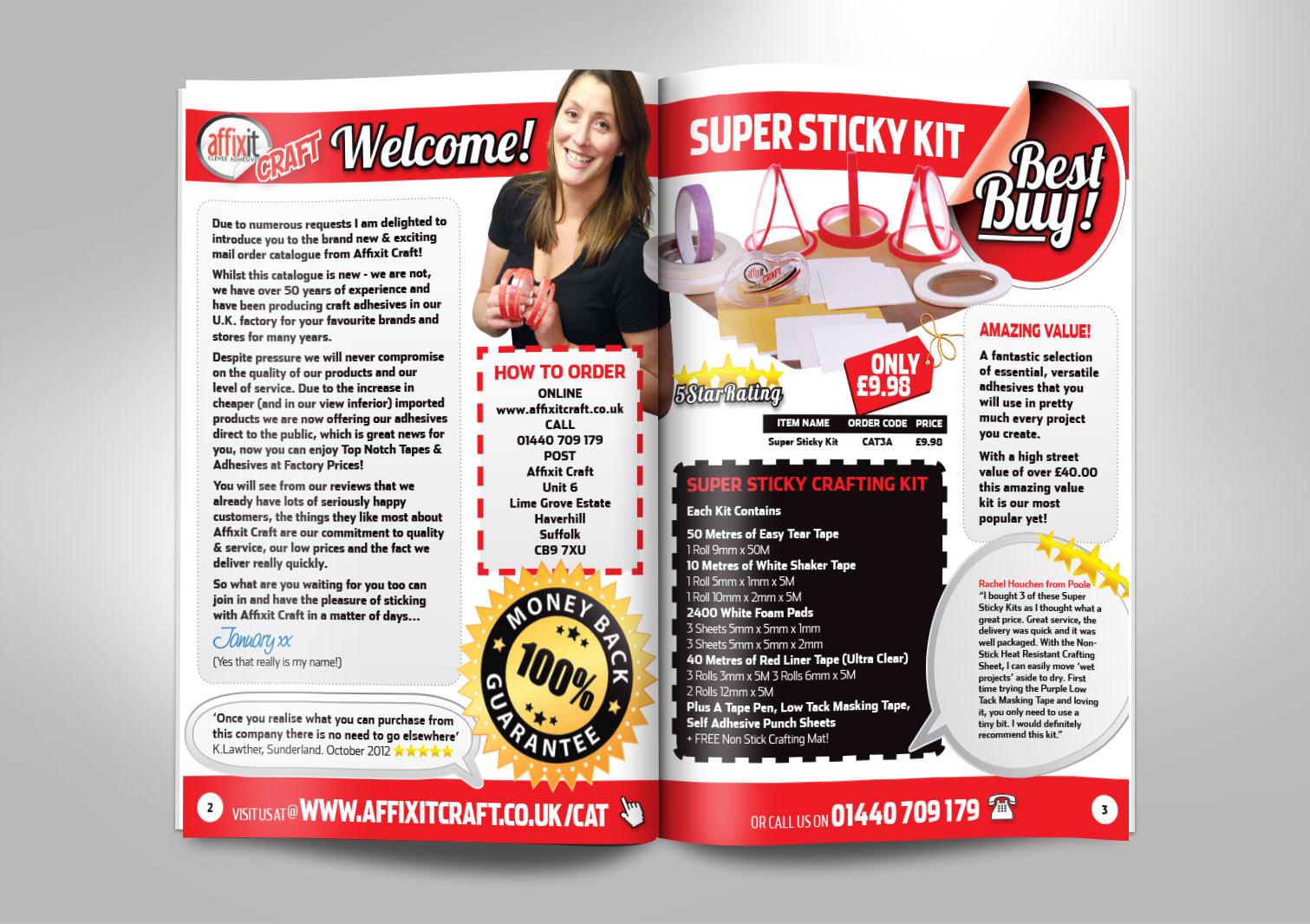 Affixit Craft Order Catalogue Inside Pages 2 and 3