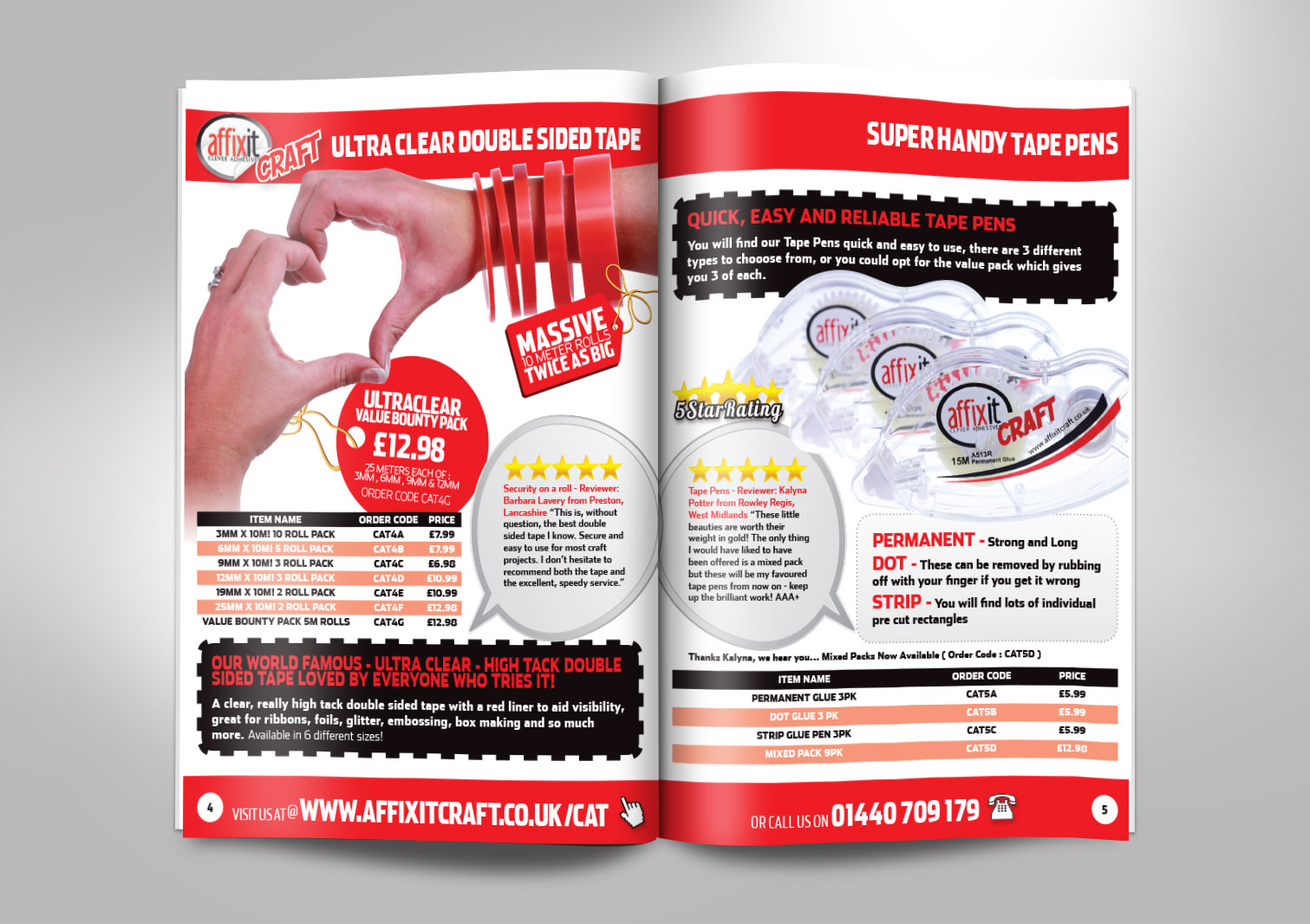 Affixit Craft Order Catalogue Inside Pages 4 and 5