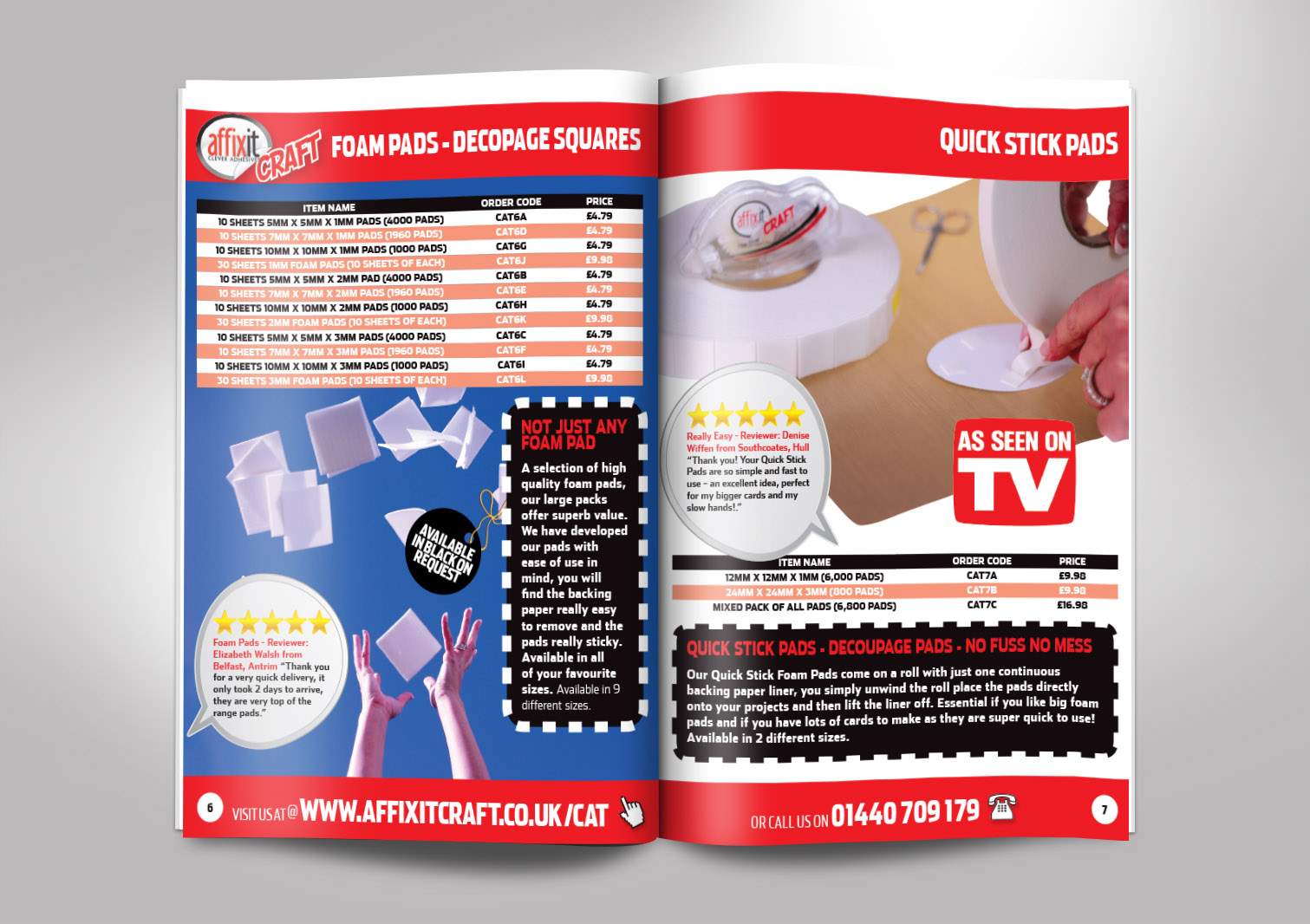 Affixit Craft Order Catalogue Inside Pages 6 and 7