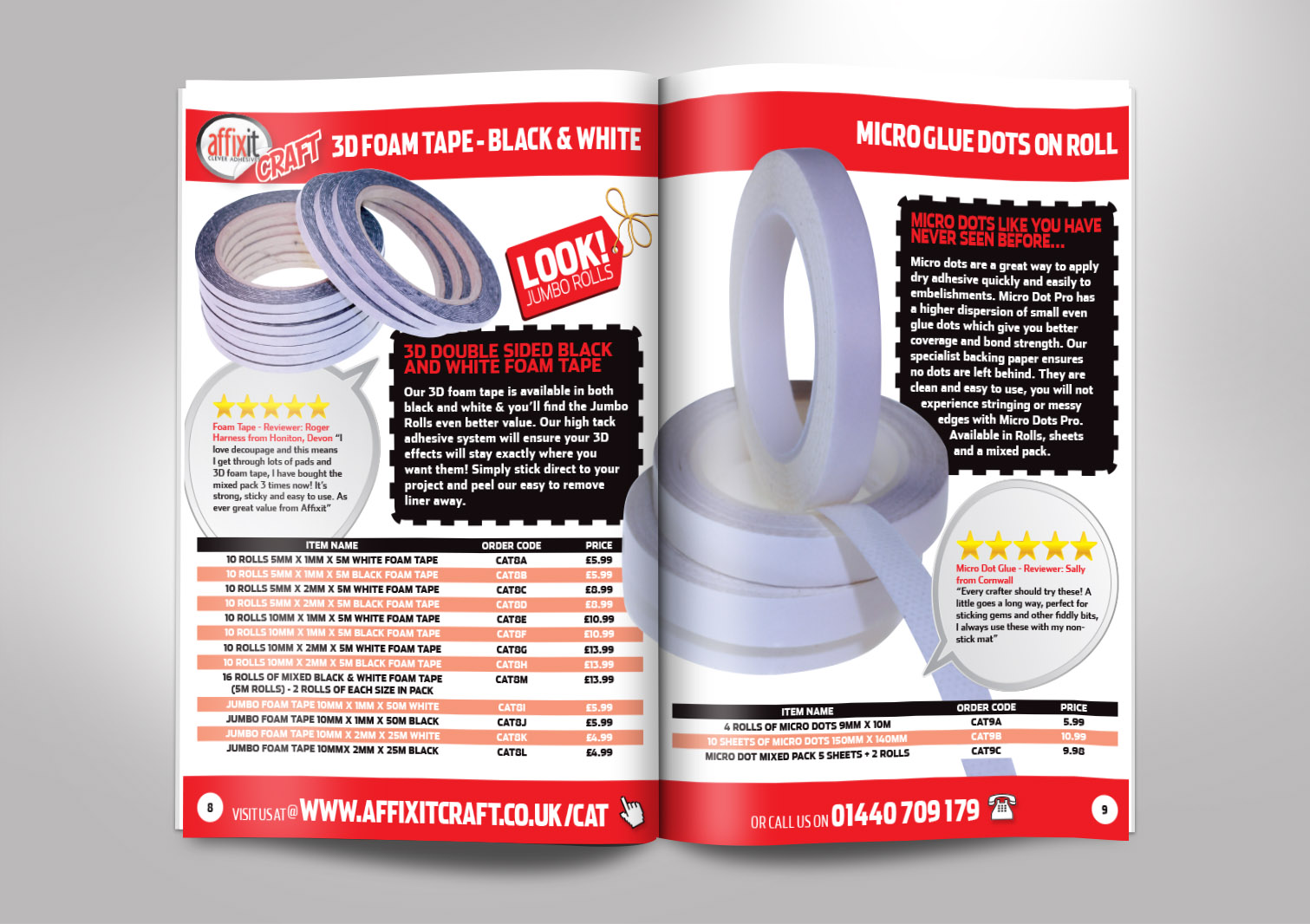 Affixit Craft Order Catalogue Inside Pages 8 and 9