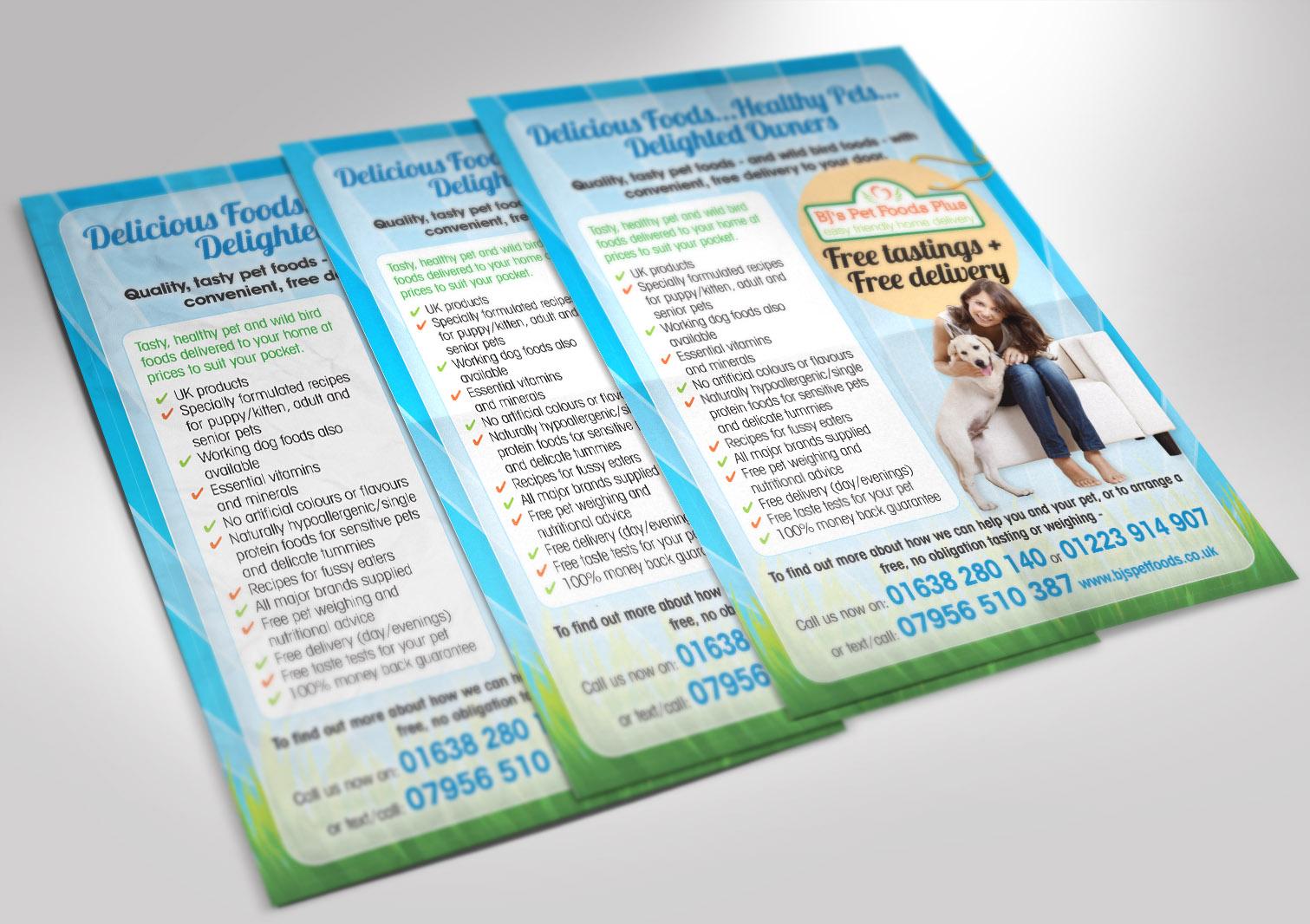 BJ's Pet Foods Plus A5 Leaflet Front