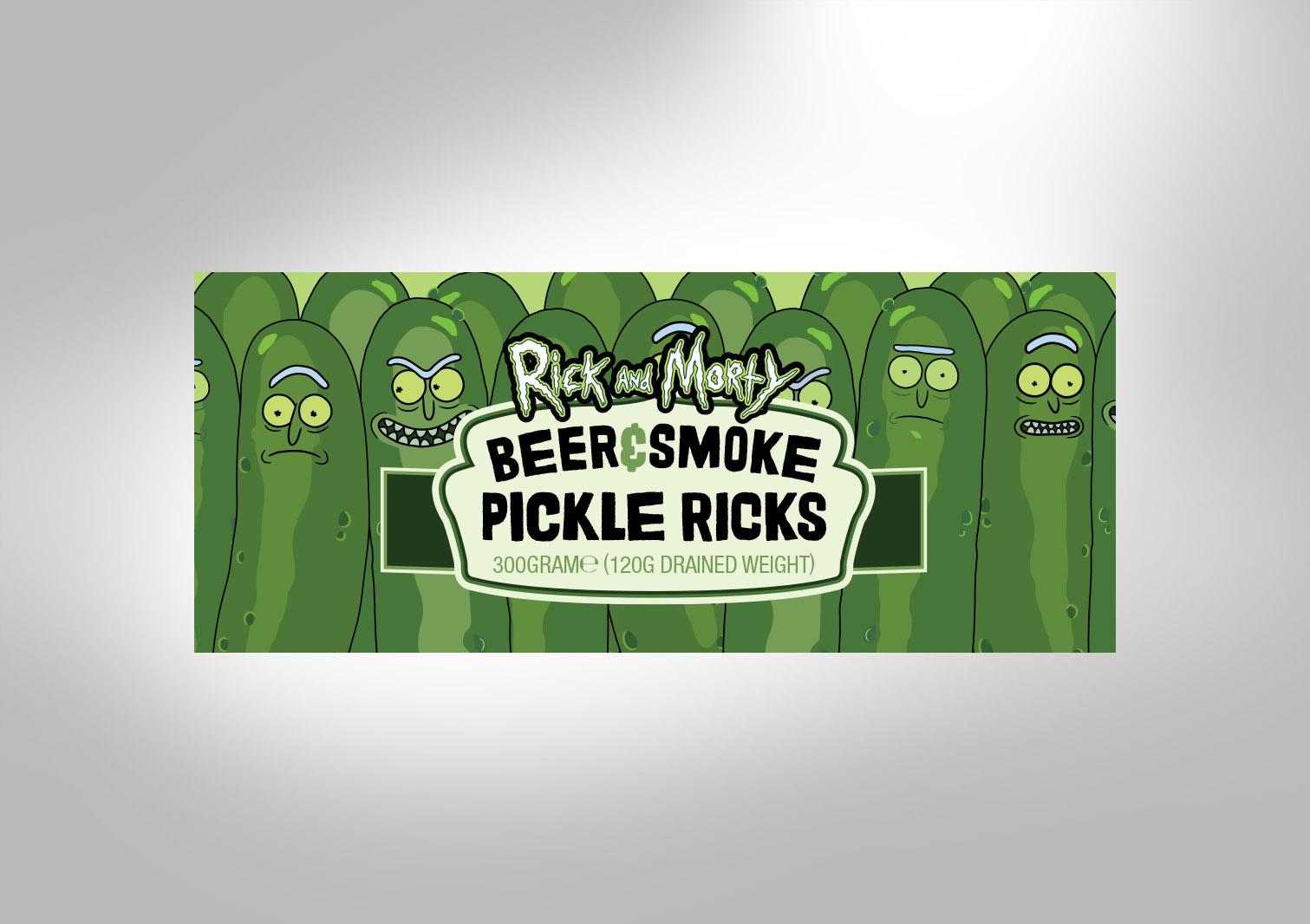 Beer & Smoke Pickle Ricks Labeled Jar