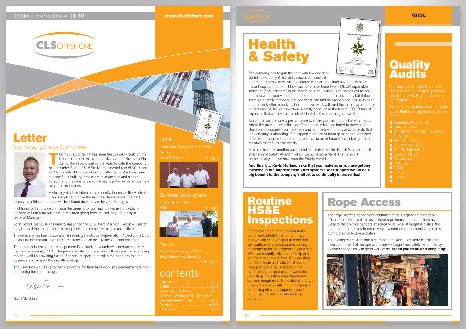 CLS Offshore Limited Newsletter Pages 1 and 2