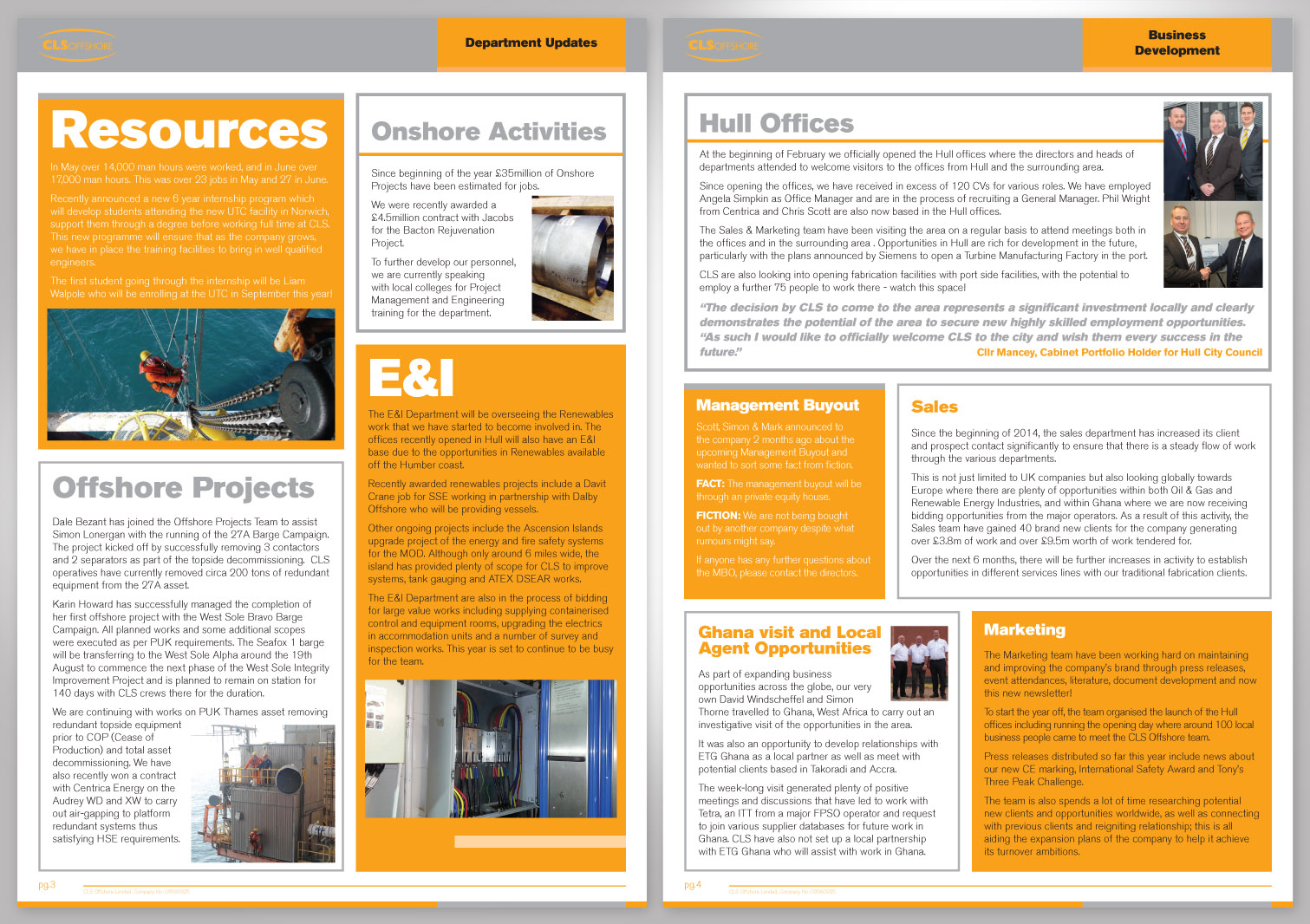 CLS Offshore Limited Newsletter Pages 3 and 4