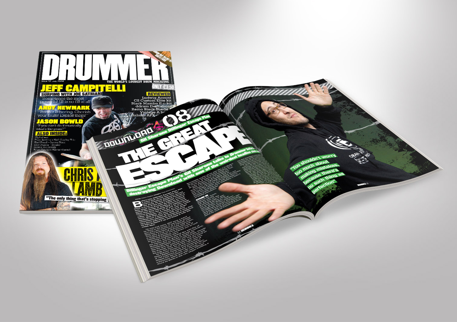 Drummer Magazine Front and Inside