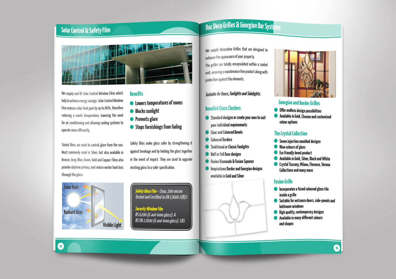 JD Glass Limited Brochures Booklets Inside Pages 12 and 13