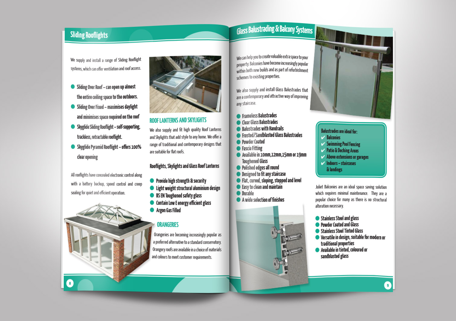 JD Glass Limited Brochures Booklets Inside Pages 8 and 9